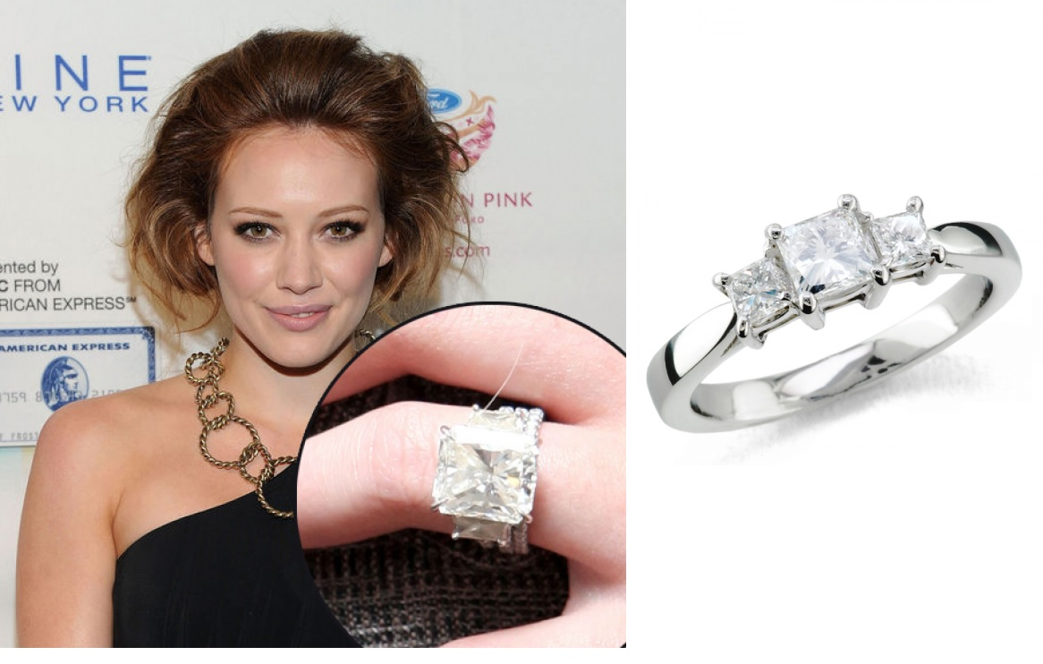 Hilary Duff Princess Cut Diamond Trilogy Engagement Ring