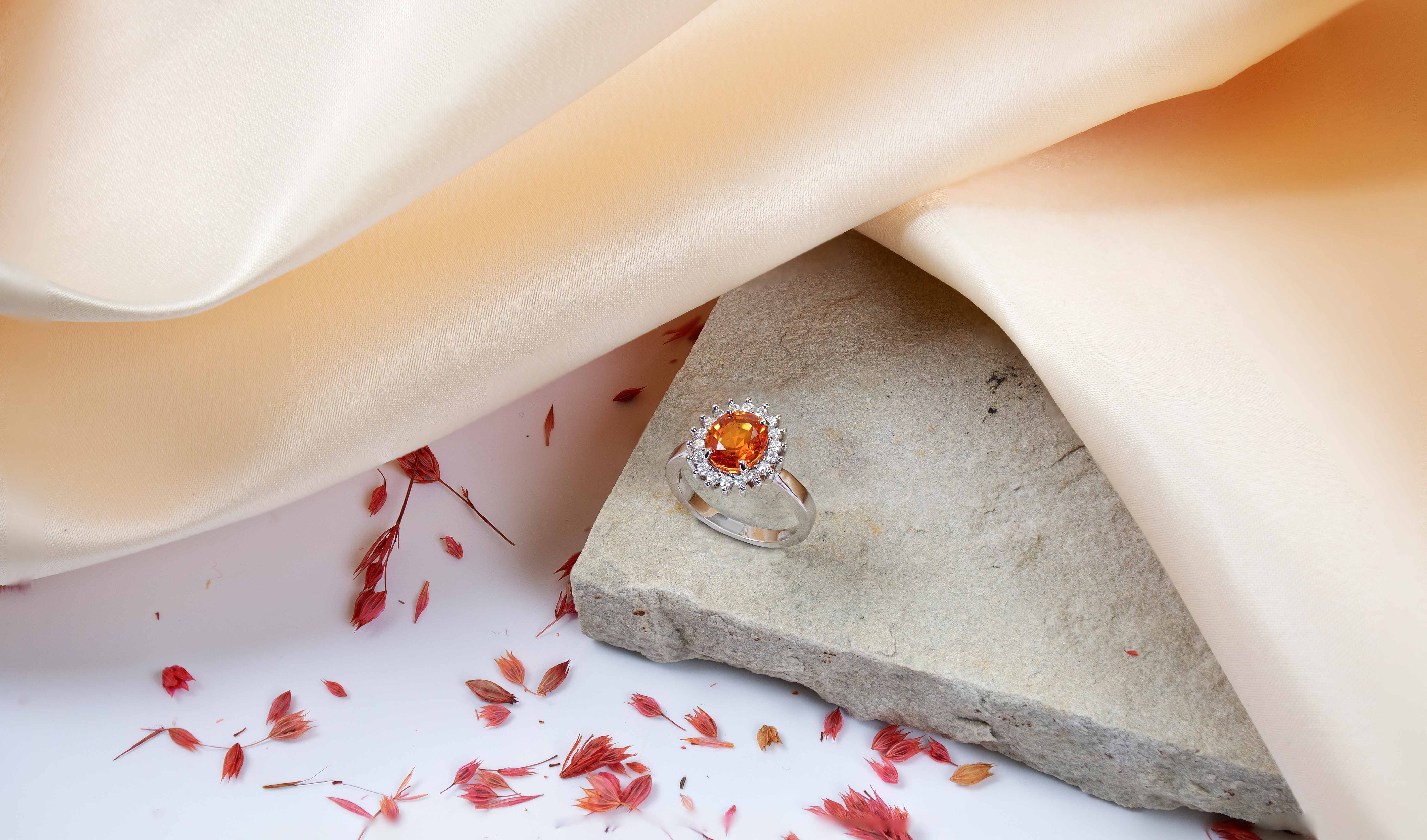 Fire Opal and Diamond Ring for Autumn Style