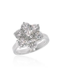 Plat 3.00ct Daisy Cluster Ring