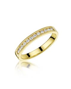 18ct Gold 0.20ct Brilliant Cut Diamond Milgrain Edge Half Eternity G/SI Ring