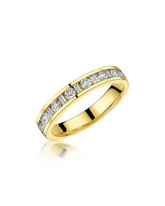 18ct Yellow Gold 0.50ct Baguette & Brilliant Cut Diamond Half Eternity Ring