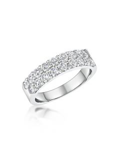 18ct White Gold 1.49ct Diamond Double Row Half Eternity Ring