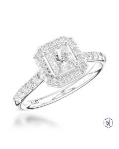 Platinum radiant diamond ring