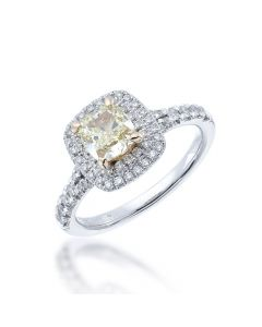 cushion cut yellow diamond rin