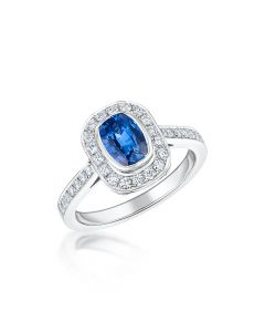 18ct White Gold 1.17ct Cushion Sapphire and Diamond Ring