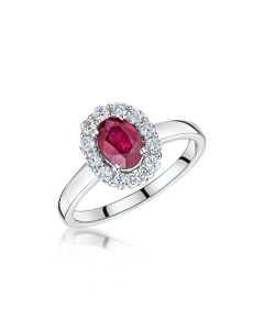 18ct White Gold Oval Ruby and Diamond Ring