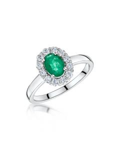 18ct White Gold Emerald &Diamond Ring