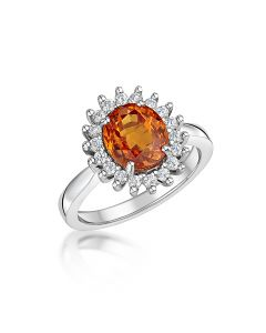 18ct White Gold 3.65ct Fire Opal and Diamond Ring