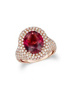 18ct Rose Gold 3.96ct Oval Rhodolite & Diamond Ring