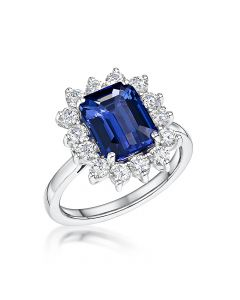 18ct White Gold 3.27ct Tanzanite and Diamond Cluster Ring