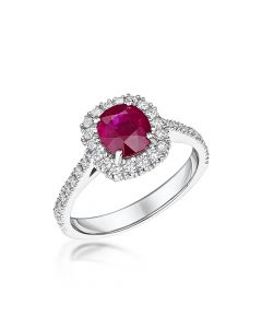 18ct White Gold 1.48ct Ruby and Diamond Cluster Ring