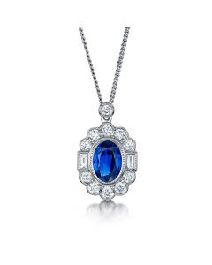 18ct White Gold 1.39ct Sapphire and Diamond Cluster Pendant