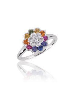 floral rainbow sapphire ring