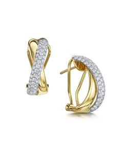 Yellow & White Gold Diamond Crossover Earrings