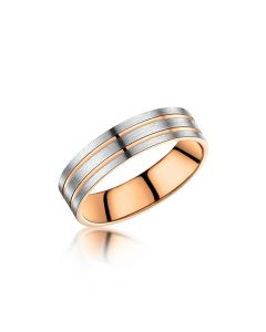 Men's 9ct Rose Gold and Palladium Wedding Ring