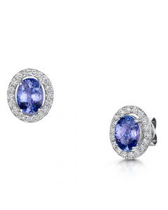 18ct White Gold 1.60ct Tanzanite and Diamond Earrings