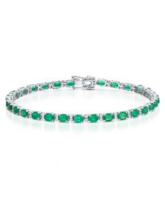 18ct White Gold 3.92ct Emerald and Diamond Bracelet