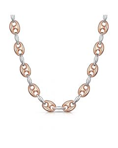 rose and white gold link chain