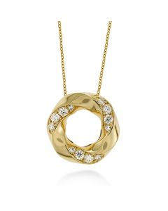 Hearts On Fire Atlantico Circle Yellow Gold Pendant