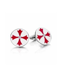 Red and White Enamel Cufflinks