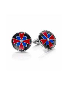 Silver Circle Black, Red & Blue Diamond Cufflinks