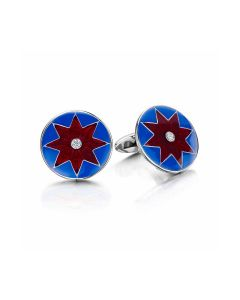 Silver Circle Blue & Red Pattern Diamond Cufflinks