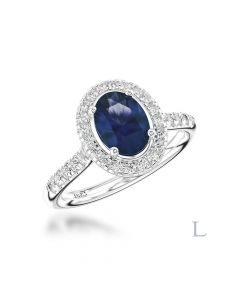 Platinum 2.70ct Oval Cut Sapphire Ring