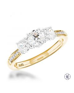 Memoire 3 stone in YG. 0.30ct.