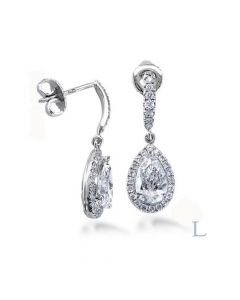 Platinum 0.60ct F VS1 Pear Cut Diamond Earrings