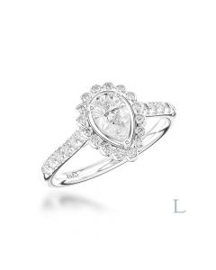 Platinum pear cut diamond ring