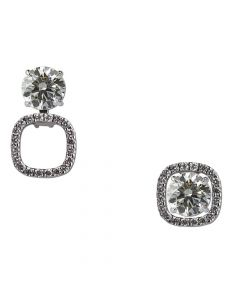 14ct White Gold Square Diamond Earring Jackets