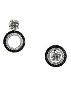 14ct White Gold Black and White Diamond Earring Jackets