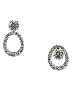 14ct White Gold Oval Diamond Earring Jackets