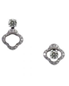 14ct White Gold Floral Diamond Earring Jackets