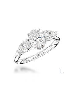 Platinum 0.90ct D SI1 Oval Cut Diamond Three Stone Ring