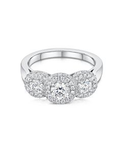 Anna Collection Platinum 3 0.25ct Three Stone Cluster Ring