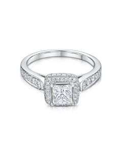 Anna Collection White Gold 0.25ct Cluster Ring