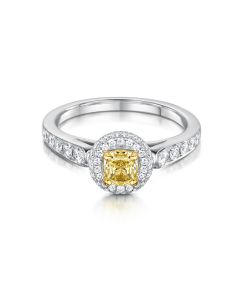 Anna 18ct White Gold 0.94ct Yellow Diamond Cluster Ring