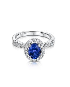 White Gold Tanzanite and Diamond Cluster Ring