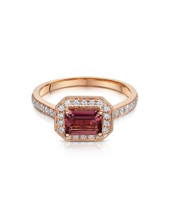 Rose Gold Rubellite & Diamond Cluster Ring