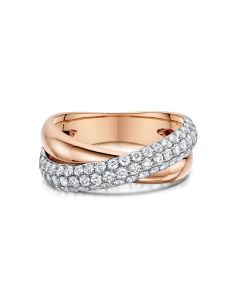 Rose & White Gold Diamond Crossover Dress Ring