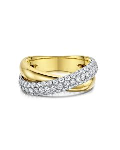 Yellow & White Gold Diamond Crossover Dress Ring