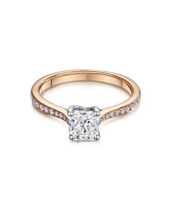 Esme Rose Gold 0.93ct Diamond Ring With Diamond Shoulders