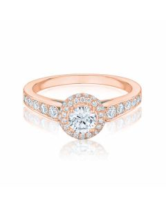 Anna Halo rose gold diamond ri