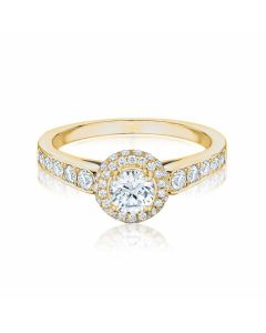Anna yellow gold halo diamond