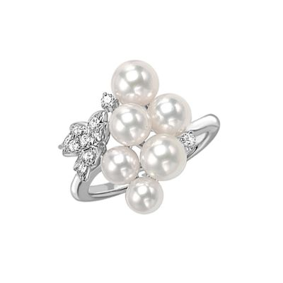 Mikimoto 18ct White Gold 6 Pearl and 0.14ct Diamond Cluster Ring