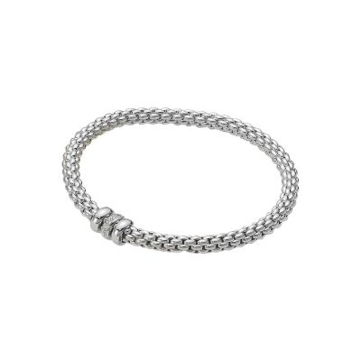 Fope Solo 18ct White Gold Bracelet with 0.10ct Diamond Bead