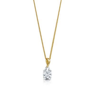 Isabella Yellow Gold Brilliant Cut Diamond Pendant