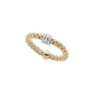 Fope Prima 18ct Yellow Gold ring with 0.12ct diamonds AN748BBRMWY