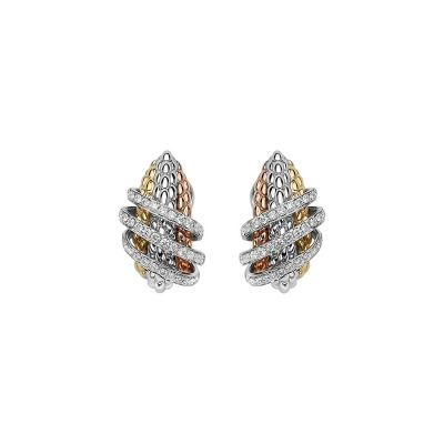 Fope Solo MiaLuce 18ct White Gold earrings with 0.82ct diamond set Rose Gold /Yellow Gold detail